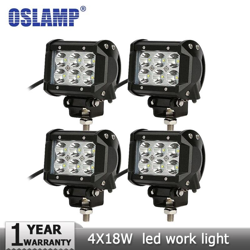 Oslamp 4pcs18W 4 inch CREE Chips LED Work Light Bar Car SUV 4WD 4x4 ATV Motorcycle Flood Spot Beam Offroad Fog Lamp Headlight<br><br>Aliexpress