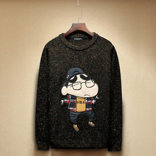 Chinese Size M-XXL Crayon Shin-Chan Patch Design Winter Autumn Japan Brand Men O Neck Black Knitted Pullover Sweater Long Sleeve