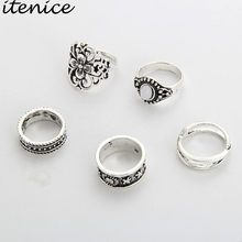 Itenice 5pcs/lot boho vintage style jewelry Electrical black treatment water drop rhinestone flower Tribal Totem ring for women(China)