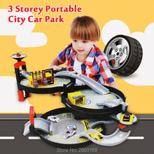 3 Storey Portable City cars Parking Orbit Car Toys Dunk Track Spiral Roller Rail Alloy Vehicles Educational Toys for Children