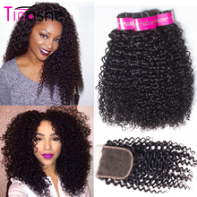 Tinashe Hair Curly Bundles With Closure Remy Human Hair 3 Bundles With Closure Brazilian Hair Weave Bundles With Closure(China)