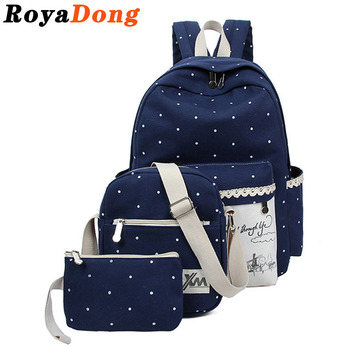 RoyaDong Women Printing Backpacks Set School Bags For Teenage Girls Canvas Dot Windmill Printing Lace Book Bag 2016