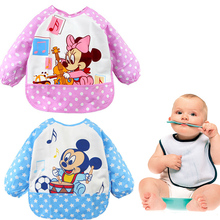 Baby Bibs Cartoon Animal Mickey Minnie Printed Waterproof Apron Children Bibs Cute Long Sleeve Baby Self Feeding Burp Cloths