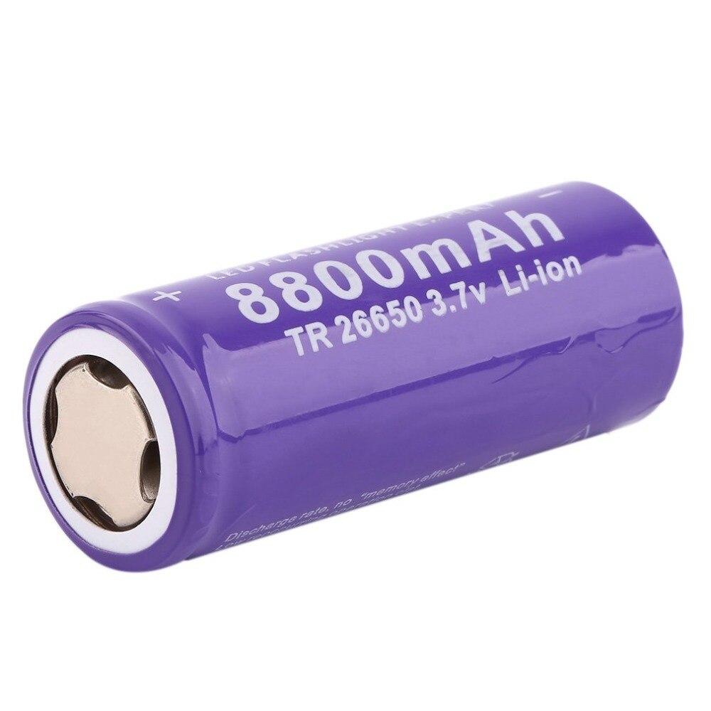 3.7V 26650 8800mAh Bater/ía recargable de iones de litio para linterna LED Antorcha Antorcha de iones de litio segura y respetuosa con el medio ambiente P/úrpura