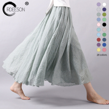ORDEESON Summer 2017 Loose Cotton Linen Elastic Waist Long Skirt Women Pleated Cotton Beach Boho Vintage Maxi Skirts Faldas Saia(China)