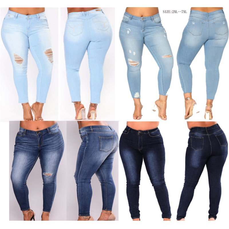 Sexy Jeans Women High Waist Pencil Denim Pants women hole washed stretch elastic Jeans women 347#