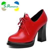 S.Romance Women Ankle Boots Genuine Full Grain Leather Lace Up High Heel Pumps Round Toe New Fashion Woman Shoes Black Red SB474(China)