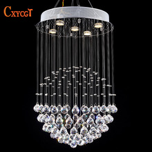 Modern Staircase LED Crystal Chandeliers Lighting Fixture for Hotel Lobby Foyer Ball Shape Rain Drop Pendant Lamp