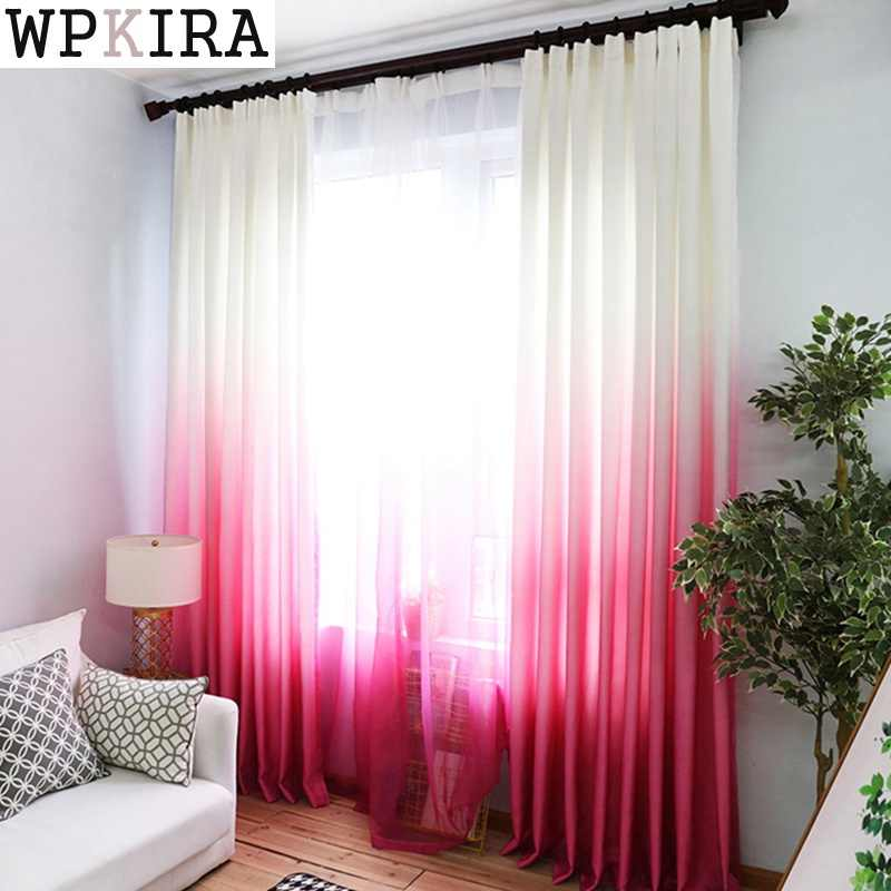 Pink Purple Curtains For the Living Room Green Gradient Semi-blackout Cloth Drapes For the Bedroom Blue Tulle Cortinas wp185&30