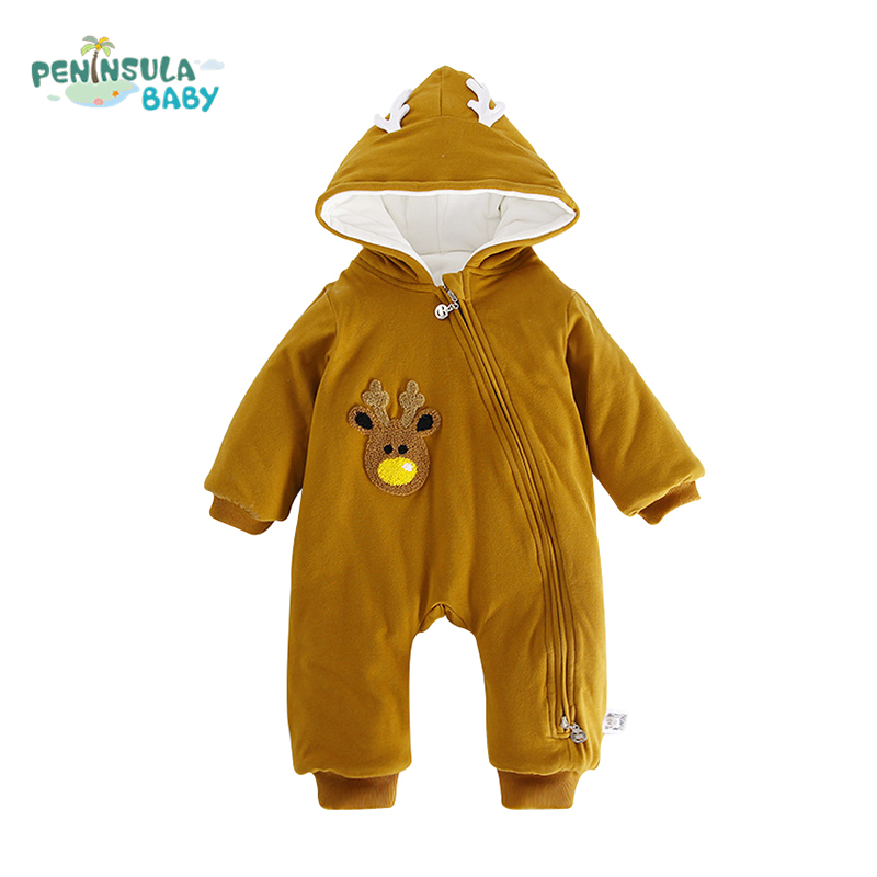 Autumn Winter Baby Boy Girls Rompers Cartoon Elk Jumpsuit Long Sleeves Thicken Kids Hooded Clothes Fashion Baby Toddler Overalls<br>