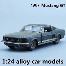 1:24 alloy car models,high simulation Mustang GT toy vehicles,metal diecasts,freewheeling,children's gift,free shipping