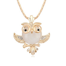Xingzou Women's High Quality Owl Sweater Long Chain Pendant Necklace Fashion Oval Charms Jewelry Girl Casual Dress Jewellery