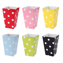 12pcs/lot Wave Circles Pattern Folding Candy Popcorn Boxes Birthday Party Wedding Candy/Sanck Favor Bags Paper Chritmas Gift Bag(China)