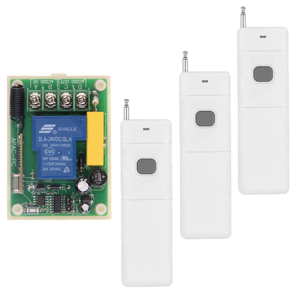 3000m Long Range AC 220V 30A Relay 1 CH 1CH RF Wireless Remote Control Switch System,315/433.92 MHZ,3 X Transmitter + Receiver<br>