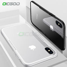 OICGOO Luxury Back Glass Phone Case For iphone 8 7 6 Plus X Anti-knock Glass + Silicone TPU Cover For iphone X 10 8 7 6 6s Case(China)
