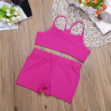 4-12Years Rose Baby Girls Children Kids Tankini Bikini Suit Tops Tank Top Shorts Baby Girls Summer Sports Gym Workout Clothes(China)