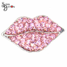 Wholesale DIY Jewelry Custom Metal Snap Button Rhinestone Crystal Pink Lips Snap Button Interchangeable Jewelry  SJSB640