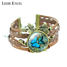 LIEBE ENGEL Classic Butterfly Bangles Bracelets Fashion Glass Cabochon Bracelet for Women Newest Bronze Leather Bracelet(China)