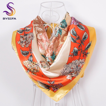 BYSIFA Ladies Yellow Silk Scarves Cape For Summer 90*90cm Fashion All-Match Accessories Women Waistband Neck Scarf Winter Scarf