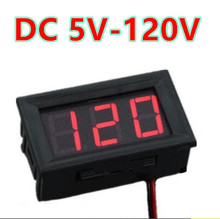 10pcs/lot 0.56 inch  Red LCD display  DC 5-120V Panel Meter Digital volt menter Voltmeter with two wire