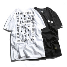 Gothic Letters Printed Short Sleeved T-shirts Men Japan Harajuku Cotton Pullover Popular High Quality Kanye West Style Tops Tees