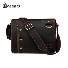 Baigio Men Bag Best Brand Designer Vintage Style Casual Crazy Horse Leather Messenger Bag Crossbody Handmade Bag Messenger Bags(China)