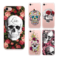 6 Style Head Indian Skeleton Cover For Iphone 7 Case Back Cover Skull Red Flower Soft Printing Painted Phone Capa