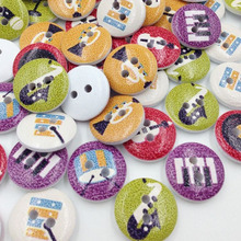 New 10/50/100Pcs Music breaks Mini Wood Button Kid's Sewing Crafts Accessories Beads WB275
