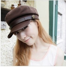 Korean version of the sun hat new leather along the cap Navy caps flat head tide men and women models long hats C1011