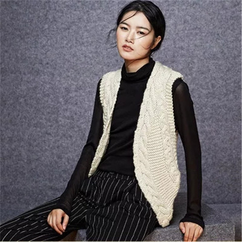 100% hand made wool twisted knit women fashion striped solid Vneck vest sweater beige 7color customized