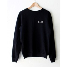BABE Printed Black Hoody Sweatshirts Cute Long Sleeve Loose Woman's Tops(China)