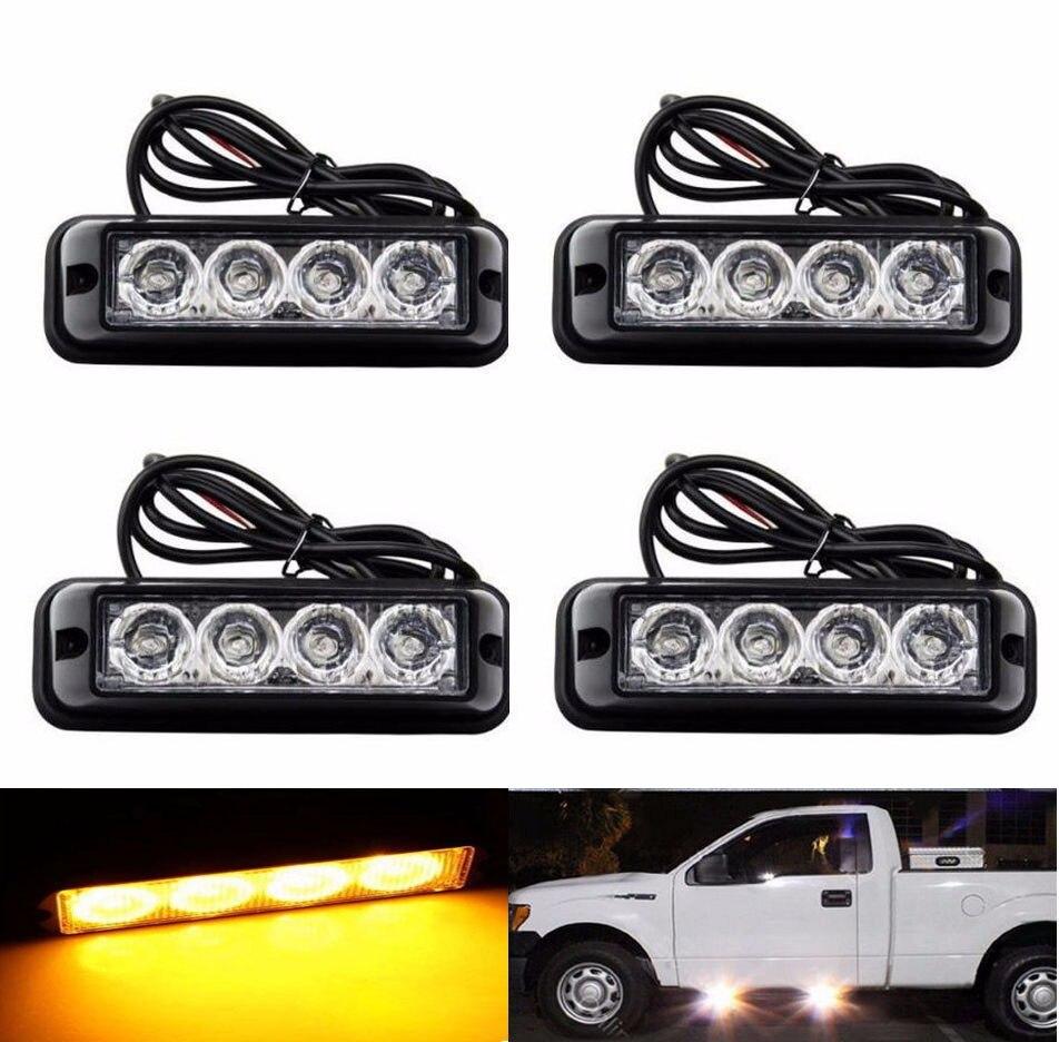 new video 12v-24V  Universal 4X4LED Car Amber Emergency Flash Strobe Light Bulbs Waterproof Work Lights Daytime Running Lights<br>