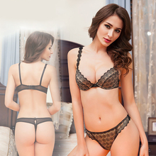 Transparent Lace Sexy Bra Set Daisy Flower Crochet Thin Lined Underwear Women Applique Bra Thong Sets Ladies Lingerie France HOT(China)