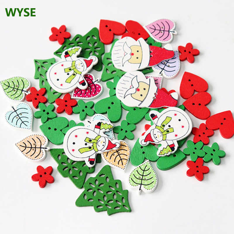 Scrapbooking Cardmaking Sewing Green Christmas Tree Snowflake Wooden Buttons