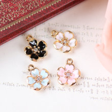 MRHUANG New 15PCS Oil Drop Rhinestone Core Flower DIY Jewelry Bracelet Necklace Pendant Charms Gold Tone Enamel Floating Charm