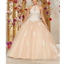 7c62310323 Halter Vintage sin mangas apliques cordón vestido de encaje de tul-dulce 16 vestido  Vestidos