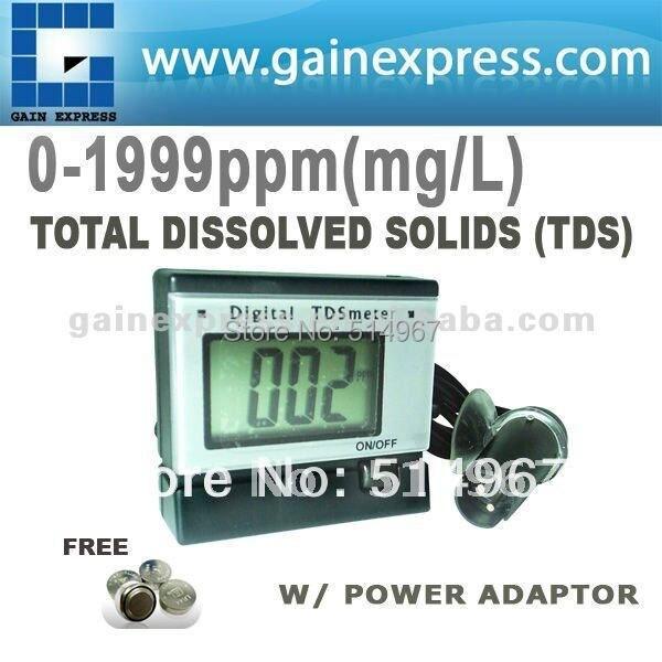 Portable Digital Total Dissolve Solids TDS Meter Measurement Tester Aquarium Water + Power adaptor + 0~1999 PPm (mg/L) Range<br>