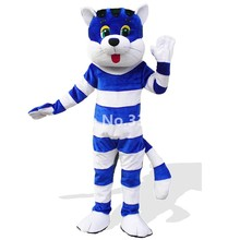 High Quality White And Blue Strips Adult Plush Cat Mascot Costume Christmas Garfield Cartoon Character Carnival Costume