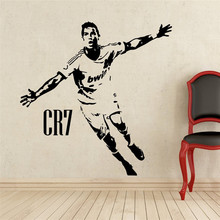 Home Decor Sports football wall stickers PVC Vinyl Removable Art Mural Football Cristiano Ronaldo scored cheering # T174