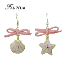 FANHUA Enamel Shell Starfish Pendant Female Asymmetric Earrings Pink Leather Bowknot Party Earrings Accessories