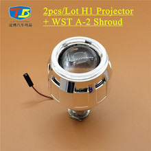 "2pcs/Lot,2.5"" Mini H1 Projector Lens with WST A-2 Shroud Angel Eye PC Cover,H1 Bulb Socket for Car Styling H7 H4 H1 Headlight"