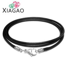 XIAGAO Fashion  Men Jewelry 316L Titanium Steel Necklace 2.5MM Width Simple Black Wax Woven Linen Rope Chain Male Necklaces