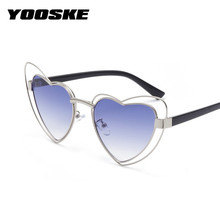 YOOSKE Heart Shaped Sunglasses Women Cat Eye Sun Glasses Female Metal Vintage Cateyes Glasses Pink Lens Eyewear Gift(China)