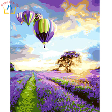 Oil paint painting by numbers diy picture coloring drawing on canvas oil painting by hand landscape craft lavender G043(China)