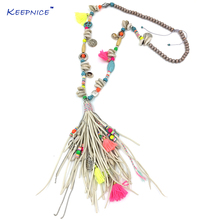 New handmade jewelry supplier beaded chain leather tassel pendents unique boho chic Bohemia long fringe pendant Necklaces(China)