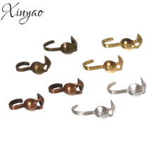 XINYAO 200pcs/lot Dia 4mm Crimp Beads With Loops Antique Bronze/Gold/Silver Color Ball Chain Connector Jewelry Making F874(China)