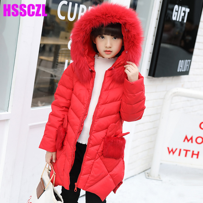 HSSCZL Girls Down Jackets 2017 Brand Winter Thicker Children Girl Down Coat Hooded long style overcoat outerwear parkas 7-14A Îäåæäà è àêñåññóàðû<br><br>