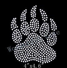 Free shipping eagle paw rhinestones iron on motif for clothing in white clear crystal very hot styles in UK and USA(China)