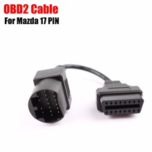 (5PCs/lot) For Mazda 17PIN to 16PIN Cable OBD2 OBDII Connector For Mazda 17 pin to 16 pin OBD 2 OBD II Extension Cable