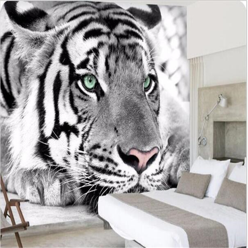 photo wallpaper Tiger black and white animal murals entrance bedroom living room sofa TV background wall mural wall paper<br><br>Aliexpress